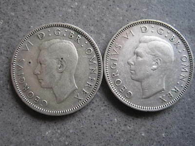 GB.....2 x 1/-d...one shilling....1945 Eng/Scot......r 71