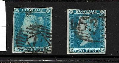 QV,, 1841 2d. blue (X2 shades),, no thins nor creases,,  collectable