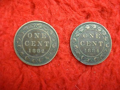 1882 H & 1884 Canada Large Cents - Loads Of Detail - Get The Pair Of Early Dates