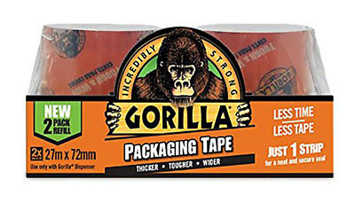 Gorilla Glue Tape Packaging Refill Twin Pack Strong Crystal Clear Tough Wide 27m