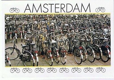 Amsterdam Holland Netherlands Postcard Bicycles