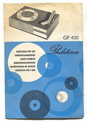 Instruction booklet for Philips Philitina GF 420 portable record player - 1960's