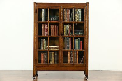 Arts & Crafts Mission Oak 1900 Antique Craftsman Library Bookcase, Signed
