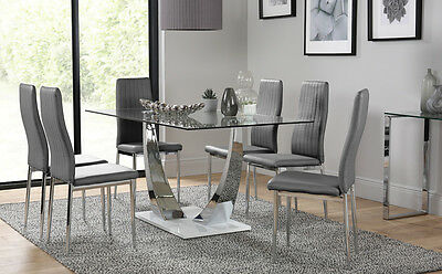White Peake & Leon Chrome and Glass Dining Table & 4 6 Chairs Set - Grey