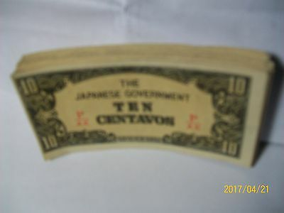 THE JAPANESE GOVERNMENT-10-TEN CENTAVOS-CURRENCY  BANKNOTE-19 Bills