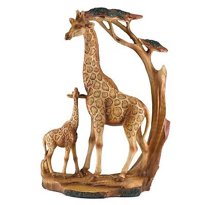 Giraffe Mother and Baby Carved Wood Look Figurine Resin 12 Inch High New In Box