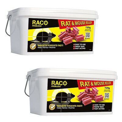 RACO Problock 2x720g Rat & Mouse Rodent Killer 72 Poison Bait Blocks Reseal Tub