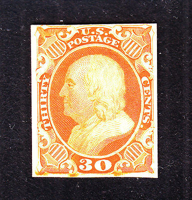 US 46P4 30c Franklin Plate Proof on Card VF SCV $60 (001)