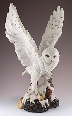 """White Snowy Owl Figurine With Wings Spread 13""""H Highly Detailed Resin New!"""