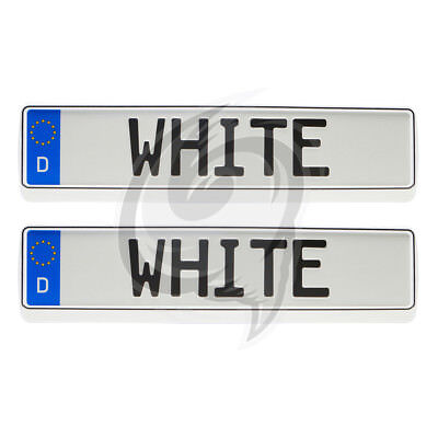 Fiat 2x Brilliant White Look License Plate Holder Number