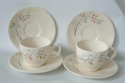 Vintage Salem China Free Form SOUTHWIND 2 Cup 4 Saucer Tree Fall Schrekengost