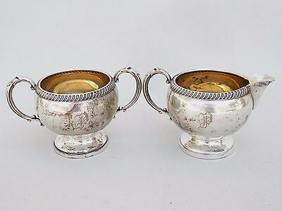 Vintage Sterling Silver Open Sugar & Cream Set Weighted Engraved