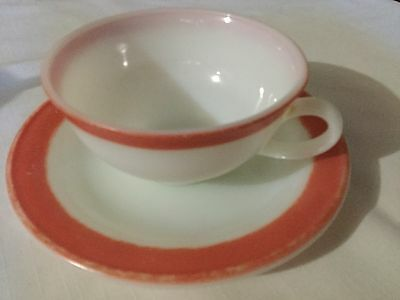 2 Vintage Pyrex Cup And Saucers With Pink Border.
