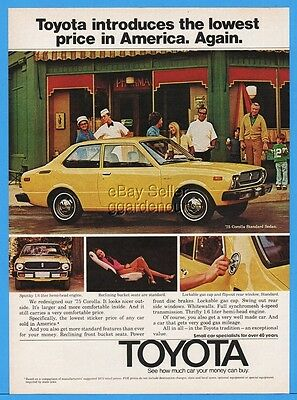 1975 Toyota Corolla Standard Sedan Reclining Bucket Seats Yellow Car 1974 Ad
