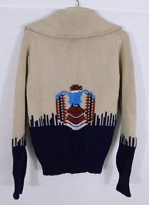 Vintage 1960s Mens National Indian Native American Zip Front Sweater S