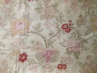 Antique Vtg. French  Floral Urn Cotton Fabric ~Pink Yellow Gold Raspberry Olive