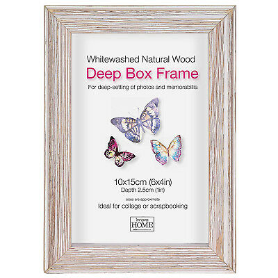 Driftwood Deep Box Wooden Photo Picture Frame Display Home Decor 6x4 Inch White