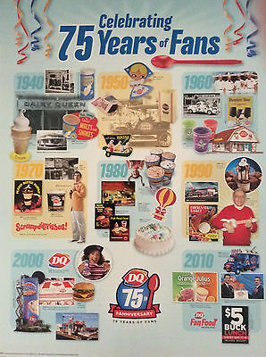 Dairy Queen Promotional Poster Celebrating 75 Years of Fans DQ