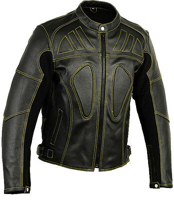 XL Vented Mens Leather Motorbike Jacket Motorcycle Coat CE ]'