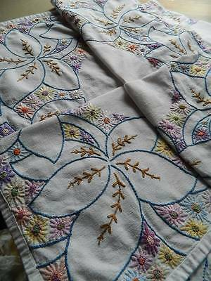 Vintage large Irish linen hand embroidered tablecloth with Floral Corners.