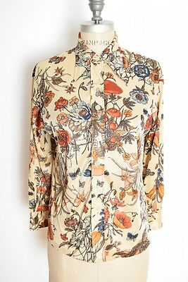 vintage 70s top MUSHROOM butterfly floral print hippie boho shirt blouse M