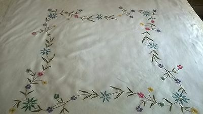 Vintage Hand Embroidered Linen Table Cloth