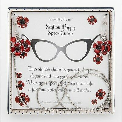 Equilibrium Silver Plated Glasses Spec Chain With Red Poppy Detail -  274406