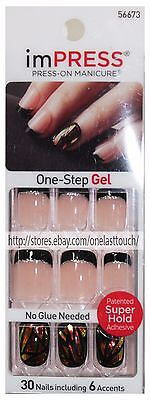 KISS*imPRESS Press-On Manicure TEXT APPEAL 30 SQUARE Nails BLACK FRENCH TIP 2/10