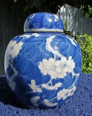 19thC CHINESE ANTIQUE BLUE AND WHITE GINGER JAR - Kangxi 4 Character  Mark
