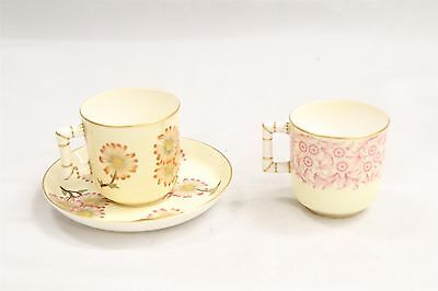 3pc Antique Royal Doulton Porcelain Demitasse Cup & Saucer Flowers Designs