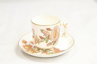 Antique Royal Doulton Porcelain Demitasse Cup & Saucer Hand Painted Flowers