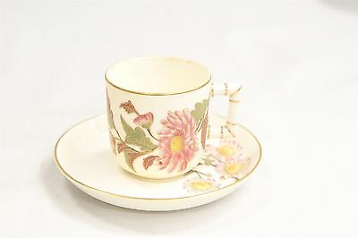 Antique Royal Doulton Porcelain Demitasse Cup & Saucer Hand Painted Flowers Sign
