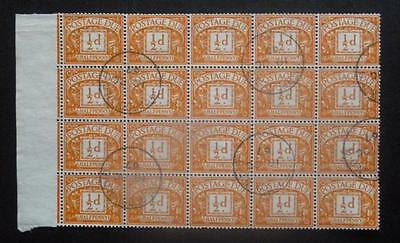 1961. 1/2d postage due BLOCK of x 20. - c.d.s. used.
