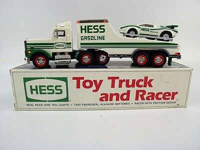 1991 Hess Truck and Racer Car W/Working Headlight &Taillights In Original Box