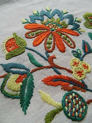 Vintage hand embroidered linen cushion cover - Jacobean style embroidery