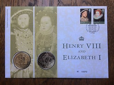2009 ROYAL MINT HENRY VIII AND ELIZABETH I 2 x £5 B/UNC - coin cover