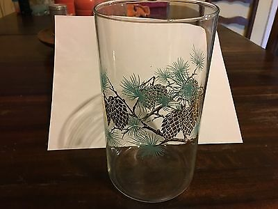 Libbey David Douglas Turquoise and Gold Pinecone 7 1/2 inch Vase