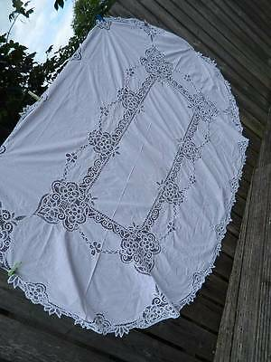 Vintage 8ft large white linen oval tablecloth - Princess lace edge & inserts