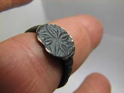 Nice Bronze Viking Ring With Ornament- Cross ! 100% Wearable Artifact #6219