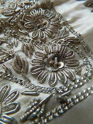 Antique Ottoman Islamic opulent silver metallic embroidery satin table cover