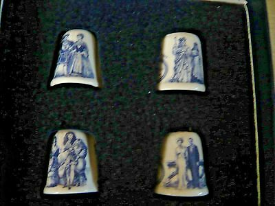 Box Of4 Sutherland Bone China Blue & White Thimbles ~ English Royalty