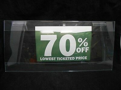 "10"" x 22"" Acrylic Slatwall Advertising Display Discounts Retail Sign Holder"