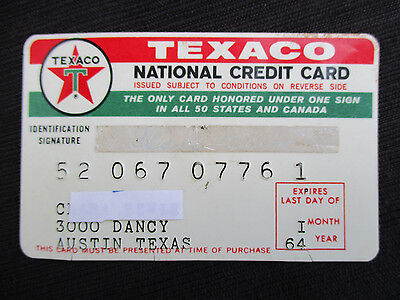 OLD VINTAGE 1960s 1964 TEXACO GAS & SERVICE STATION NATIONAL CREDIT CARD