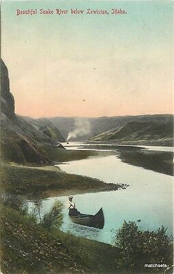 1910 Beautiful Snake River Lewiston Idaho Spokane hand colored postcard 4835