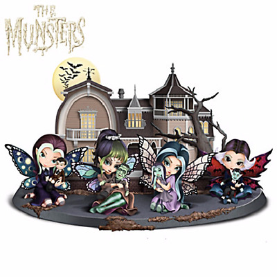 The Munsters Fairy Figurine Set 3 Herman Grandpa Lily Jasmine Becket Griffith