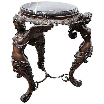 Gothic Art Deco Three Winged Ladies Bronze Accent Table w/Marble Top,28''x 32''H