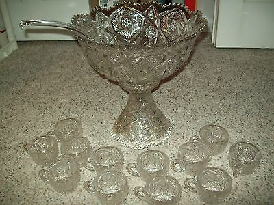 Imperial Glass Whirling Star-Clear Punch Bowl, Stand, 12 Cups, & Ladle