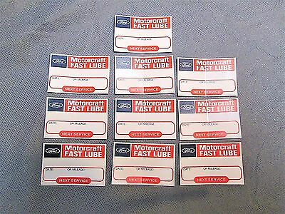 Lot Of 10 Vintage Nos Ford Motor Craft Fast Lube Windshield Oil Change Sticker