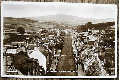 Dufftown From Top Of Tower. Real Photo Old Postcard. Moray, Scotland.