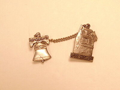 Older Philadelphia souvenir pin: Liberty Bell and Betsy Ross's house